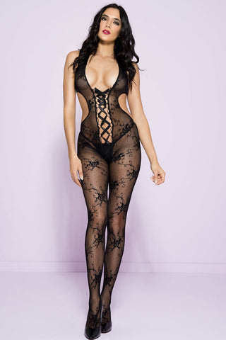Music Legs Open Back Bodystocking