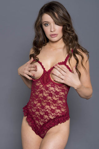 Music Legs Open Cup Lace Teddy Burgundy
