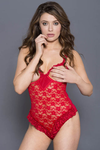 Music Legs Open Cup Lace Teddy Red