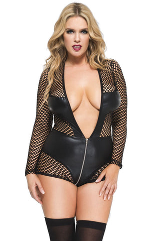Music Legs Plus Size Long Sleeve Fishnet Teddy