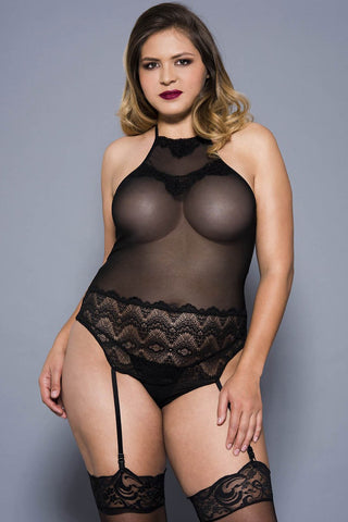 Music Legs Plus Size Teddy Black 20050Q