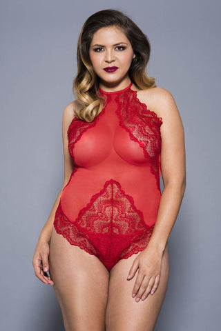 Music Legs Plus Size Teddy 80055Q Red