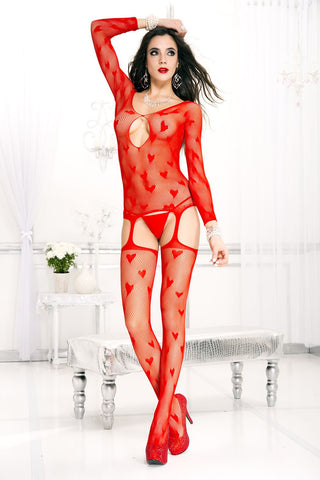 Music Legs Red Heart Bodystocking
