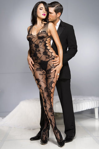 Music Legs Rose Shredded Bodystocking