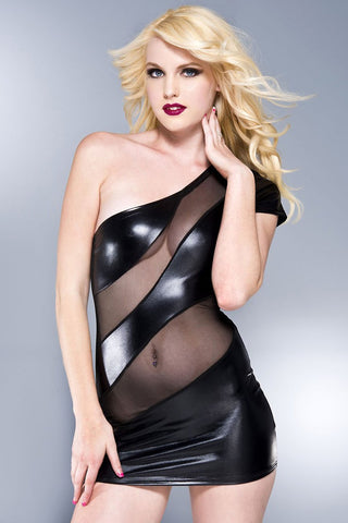 Music Legs Single Shoulder Wetlook Dress