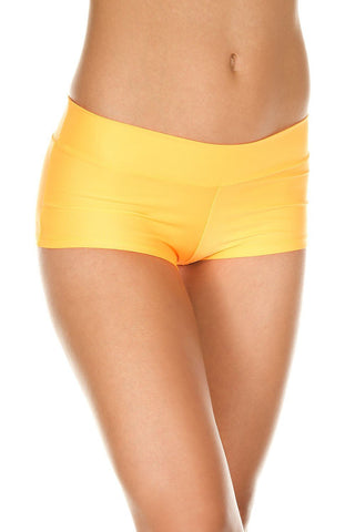 Music Legs Stretched Booty Shorts Neon Orange