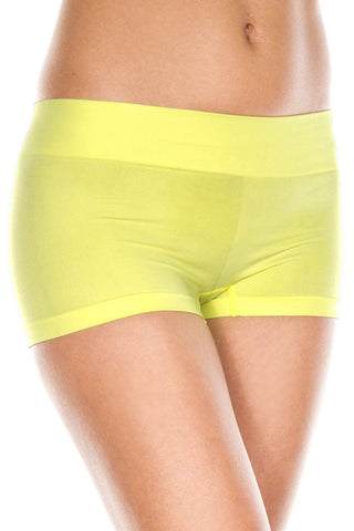 Music Legs Stretched Booty Shorts Neon Yellow