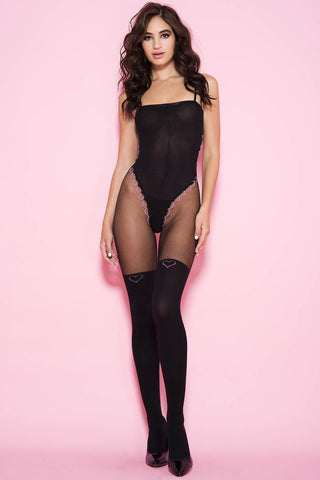 Music Legs Teddy Print Bodystocking