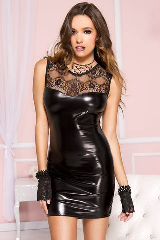 Music Legs Wetlook Lace Dress