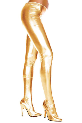 Music Legs Wet Look Pantyhose Gold