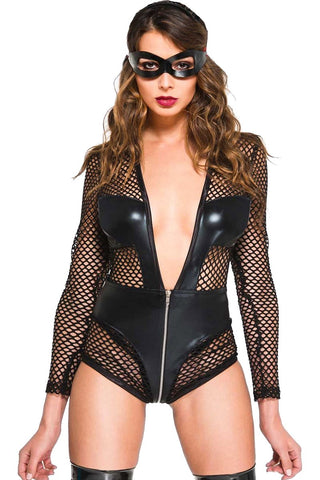 Music Legs Fishnet Wetlook V Shaped Teddy