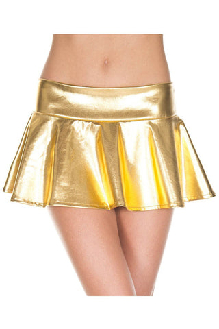 Music Legs Wetlook Wavy Skirt Gold