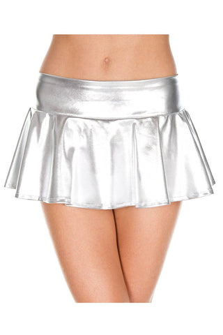 Music Legs Wetlook Wavy Skirt Silver
