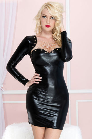 Music Legs Long Sleeve Wetlook Chain Dress