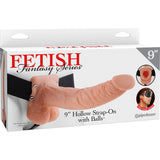 Fetish Fantasy Skin 9 Inch Hollow Strap-On with Balls