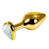Gold Metal Butt Plug With Clear Heart - Fetshop