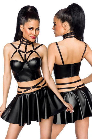 Saresia Harness Wetlook Set mit ausgestelltem Rock