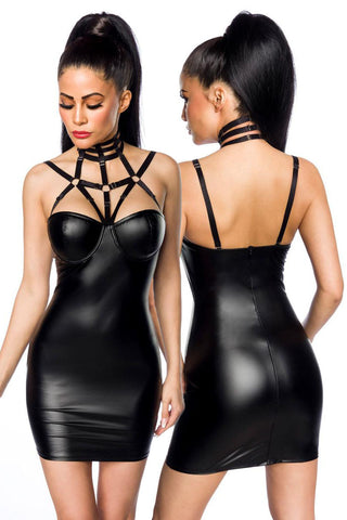 Saresia Harness Wetlook Mini Dress