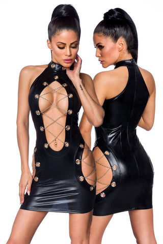 Saresia Metal Wetlook Mini Dress