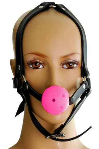 Ball Gag Head Harness Pink