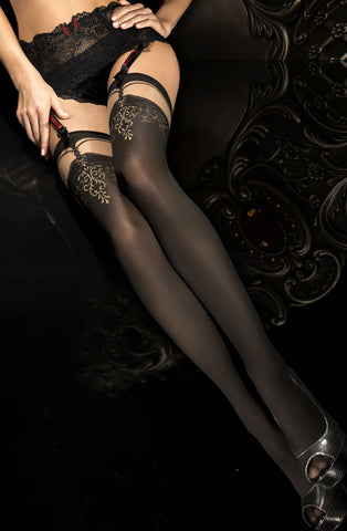 Ballerina Hold Up Stockings Black, Thigh Filigree - 292 - Fetshop