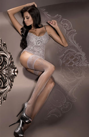 Ballerina Hold Up Stockings Fumo Smoke With Silver Filligree - 294 - Fetshop