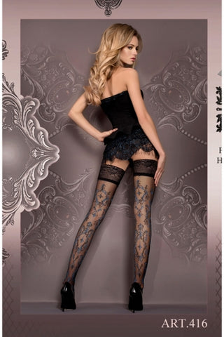 Ballerina Hold Ups Black with Blue and Grey Pattern - 416 - Fetshop