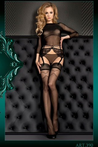 Ballerina Hold Ups Black with Swirly Patterned Top - 390 - Fetshop