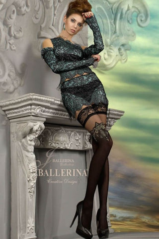Ballerina Semi Opaque Hold Ups Embroidered Tops - 221 - Fetshop