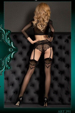 Ballerina Stockings Black with Gold Lurex Patterned Top - 391 - Fetshop