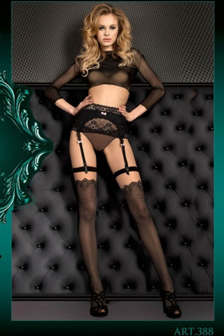 Ballerina Stockings Black Jacquard Pattern Fleshtone Top - 388 - Fetshop