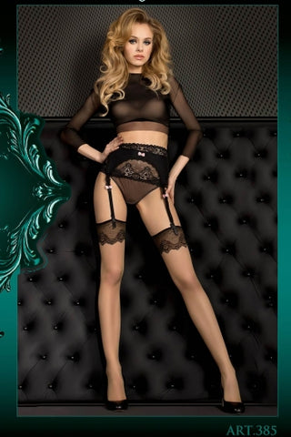 Ballerina Stockings Fleshtone with Black Patterned Top - 385 - Fetshop