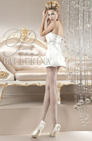 Ballerina Tights Bianco White With Filligree Detail - 118 - Fetshop