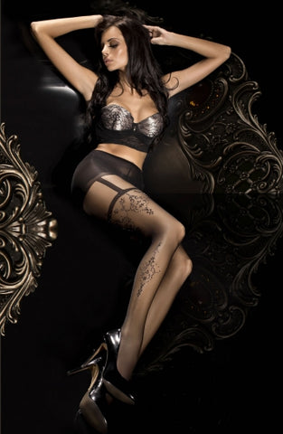 Ballerina Tights Black Faux Suspenders and Thigh Details - 293 - Fetshop