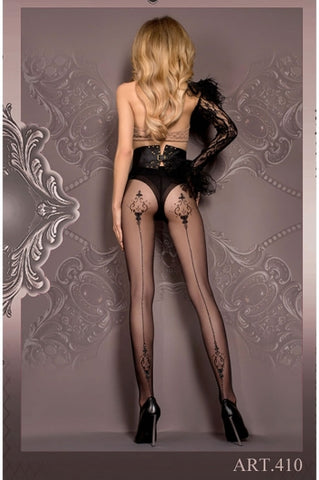 Ballerina Tights Black Patterned with Backseam - 410 - Fetshop