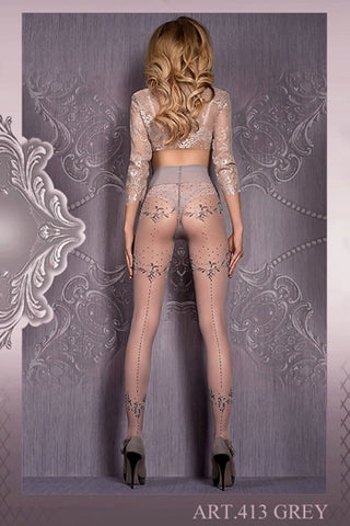 Ballerina Tights Grey Patterned with Lurex Thread - 413 - Fetshop