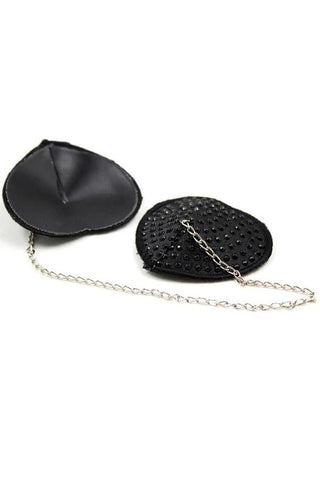 Black Diamante Heart Pasties with Chain