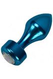 blue metallic butt plug with clear jewel decoration