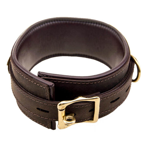 Bound Nubuck Leather Collar with Three D-Rings - Fetshop