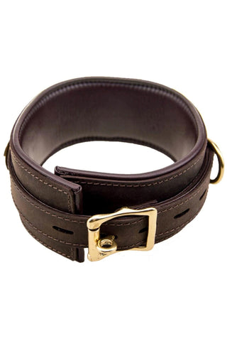 Bound Nubuck Leather Collar with Three D-Rings