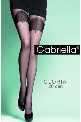 Gabriella Gloria Elegant Tights Faux Suspender Tights - Fetshop
