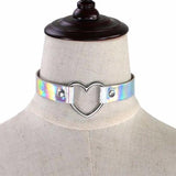White Holographic Heart Choker