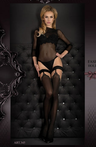 Hush Hush By Ballerina Hold Up Stockings Black - 345 - Fetshop