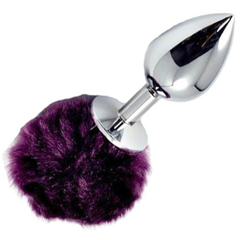 metal butt plug with purple pompom tail - Fetshop
