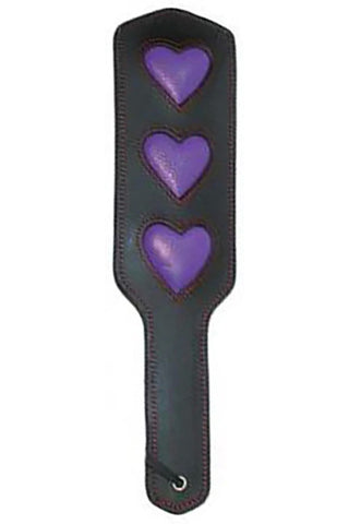 Leather Heart Paddle, Bound to Tease, Purple/Black