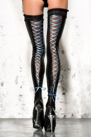 Me Seduce Black Stockings with Blue Lacing ST05 - Fetshop