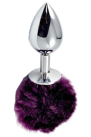 Metal butt plug with purple pompom
