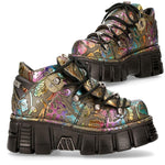 New Rock Vintage Flower Holo Shoes M-106N-S73
