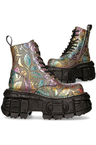 New Rock Vintage Flower Multi Holo Boots M.MILI084C-S21