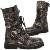 New Rock Red Vintage Flower Comfort Boots M.1473-S42